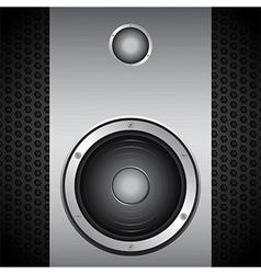Big speaker on brushed metallic background vector image vector image