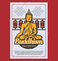 Buddhism religion card with ancient buddha statue vector
