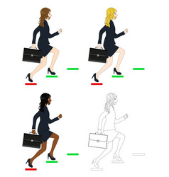 business woman holding briefcase running to goal vector image