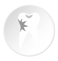 Carious tooth icon flat style vector image