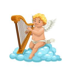 Cartoon cupid angel playing harp on cloud vector