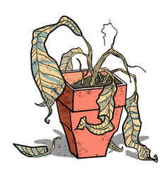 Cartoon image of dead houseplant vector