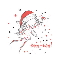 Christmas fairy for kids vector