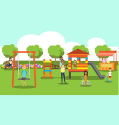 City park relaxing people children playground vector