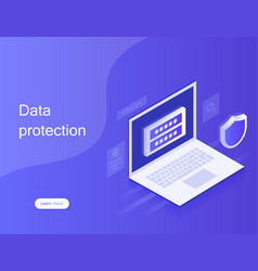 Concept personal data protection web banner vector
