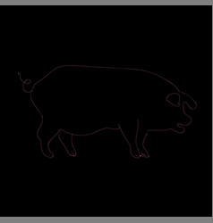 contour black and pink pig simple logo piglet vector image