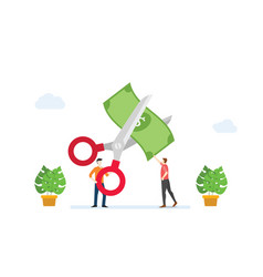 Cost reduction or cutting budget finance concept vector