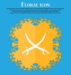 Crossed saber icon Floral flat design on a blue vector image