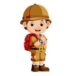 Cute hiker boy vector