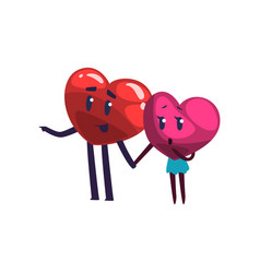 Cute red and pink hearts characters holding hands vector