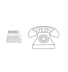 doodle telephone thin line contact vector image