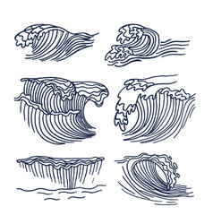 drawing sea waves set vector image