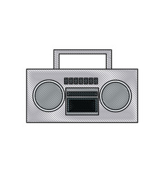 drawing stereo radio music play retro vector image