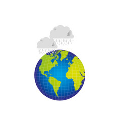 Earth planet with clouds rainning icon vector