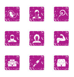 Exercise icons set grunge style vector