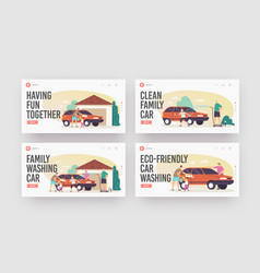 Family wash car landing page template set happy vector