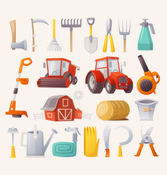 farm tools set vector image vector image