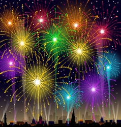 Fireworks at night vector
