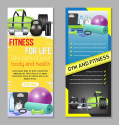 fitness vertical banner set vector image