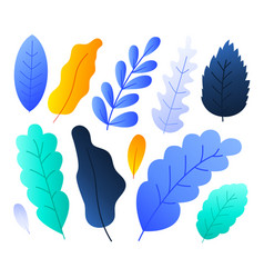 flat abstract colorful forest leaves set stock vector image
