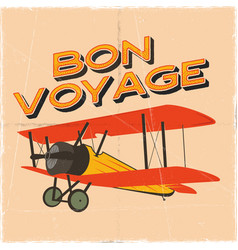 flight poster in retro style bon voyage quote vector image