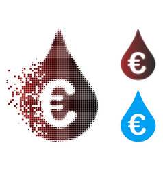 Fragmented pixel halftone euro fuel drop icon vector