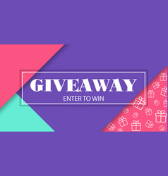 Giveaway enter to win banner with frame vector