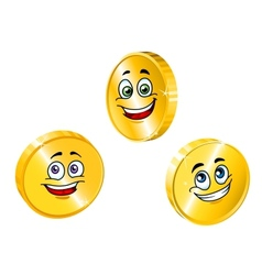 Golden smiling coins vector image