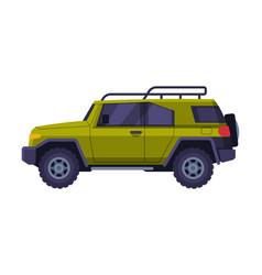 Green jeep car vehicle for camping hunting and vector