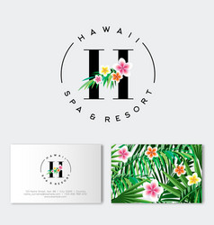h letter hawaii spa resort hotel logo flowers vector image