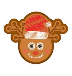 Happy bitten reindeer gingerbread vector