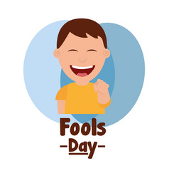 Happy man smiling point finger fools day vector