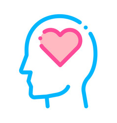 Heart love symbol in man silhouette mind vector