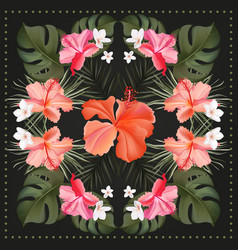 Hibiscus hand drawn tropical realistic scarf vector