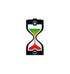 hourglass and battery icons vector image