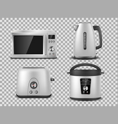 kitchen appliances template realistic silver vector image