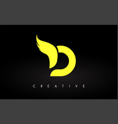 Letter d logo with yellow colors and wing design vector