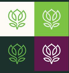line flower green logo vector image