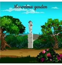 Magic garden with blooming trees and statue vector image