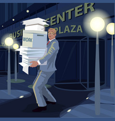 Man carry documents from office to home at night vector