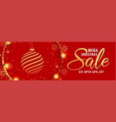 mega christmas red decorative banner design vector image