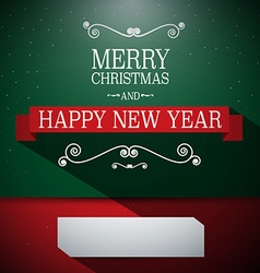 Merry Christmas Card Retro Green and Red wi vector image