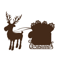 monochrome silhouette of reindeer and sleigh with vector image