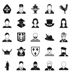 national icons set simple style vector image