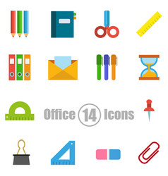office set of 14 icons in a flat style vector image