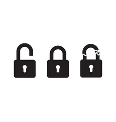 padlock in 3 positions vector image