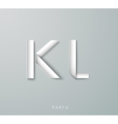 Paper Origami alphabet K L with shadows vector