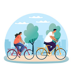 Park scene with woman and man on bicycle bike vector