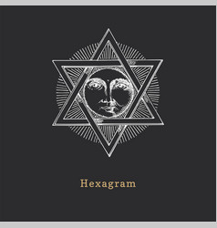 Pentagram and sun in vector