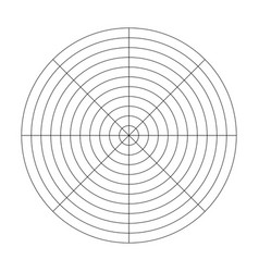 Polar grid of 10 concentric circles and 45 degrees vector
